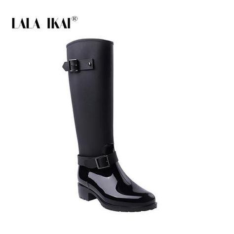 a643e0aaa07 LALA IKAI Women Rain Boots Hunter Zipper Med Heel Waterproof PU Buckle  Patchwork Over The Knee