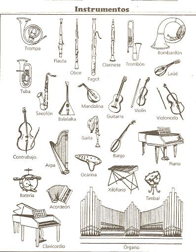 Instrumentos Musicales Para Colorear Educacion Musical Instrumentos Musicales De Percusion Aula De Musica