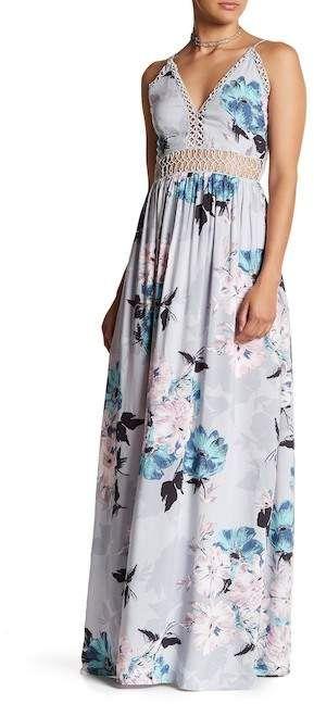 Tassels N Lace Crochet Insert Floral Maxi Dress Long