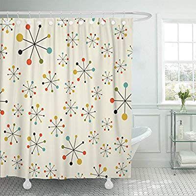Emvency Shower Curtain Modern Mid Century Absctract Geometric