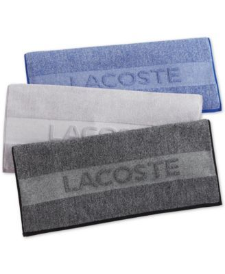 Lacoste Heathered Cotton 30 X 52 Bath Towel Silver Blue