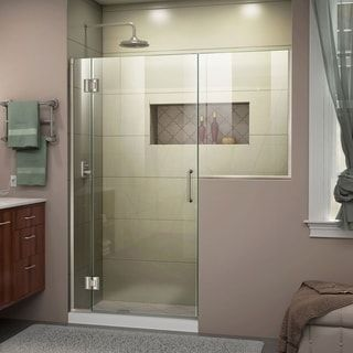 Dreamline Unidoor X 55 55 1 2 In W X 72 In H Frameless Hinged Shower Door Ha Black Shower Doors Frameless Hinged Shower Door Shower Doors