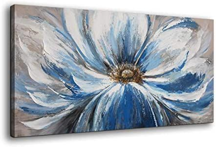 Amazon Com Flower Canvas Wall Art For Living Room Large White Blue Flower Picture Giclee Print Paint Flower Canvas Wall Art Flower Canvas Blue Flower Pictures Amazon paintings for living room