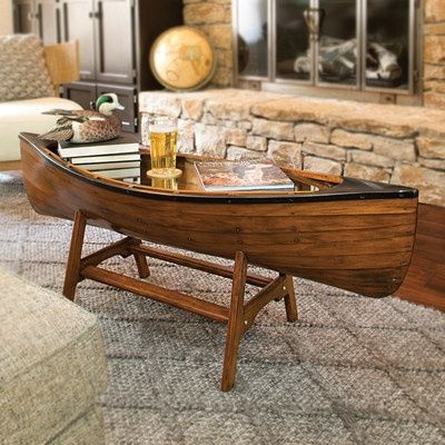 Drexel Heritage Mid Century Modern Walnut Boat Shaped Coffee Table