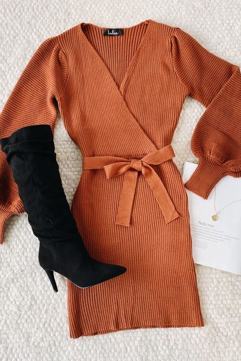 Keep it cozy, but real cute in Lulus All For One Rust Brown Knit Balloon Sleeve Mini Sweater Dress! This cute wrap dress can be dressed up or down for endless outfits. #lovelulus