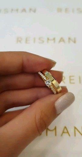 Anel de noivado em ouro 18k e diamantes combinado com aliança Chuí 4mm de largura.