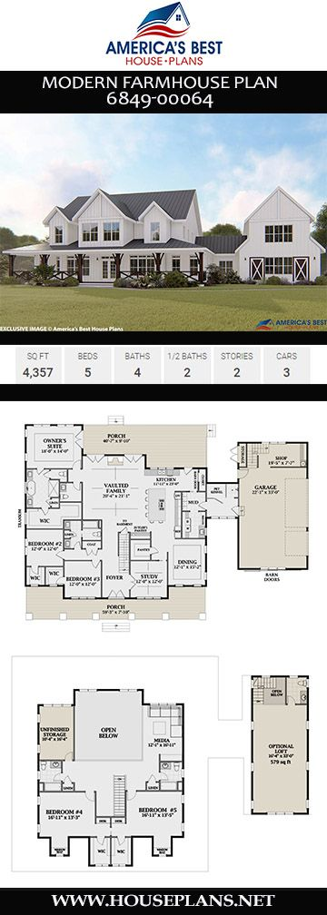 House Plan 6849 00064 Modern Farmhouse Plan 4 357 Square Feet 5 Bedrooms 5 Bathrooms Modern Farmhouse Plans Farmhouse Style House Plans Farmhouse Style House