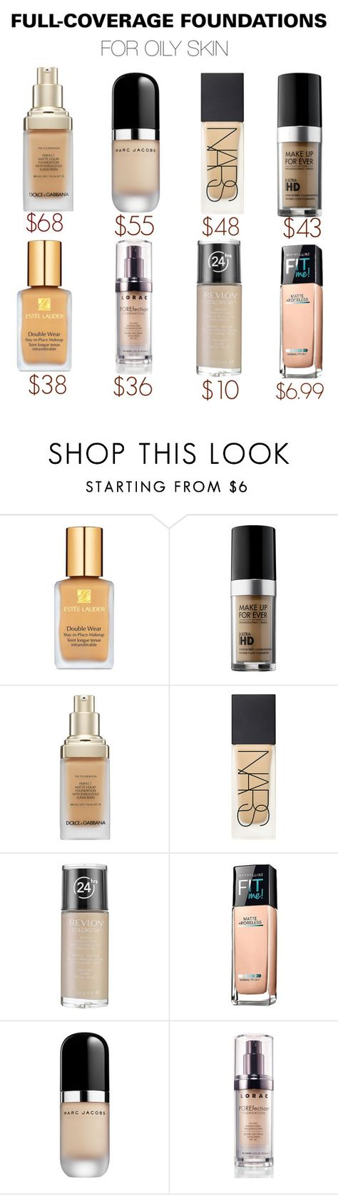 """Full-coverage foundations for oily skin"" by sozelizabeth ❤ liked on Polyvore featuring beauty, Estée Lauder, MAKE UP FOR EVER, Dolce&Gabbana, NARS Cosmetics, Revlon, Maybelline, Marc Jacobs and LORAC"