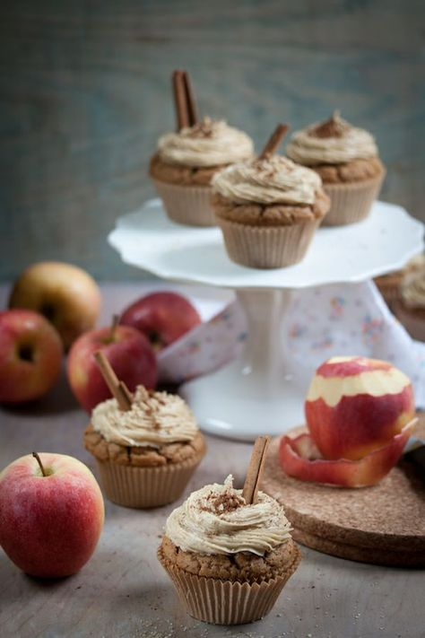 Gluten Free apple cider cupcakes with caramel frosting