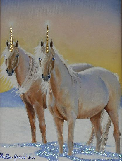 Photo of Golden Unicorns for fans of Unicorns. beautiful golden horned unicorns