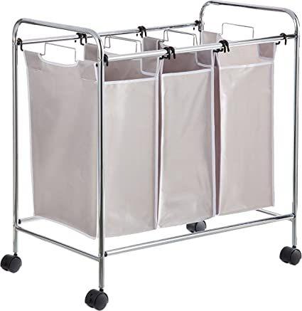 Amazon Com Amazonbasics 3 Bag Laundry Hamper Sorter Basket Home