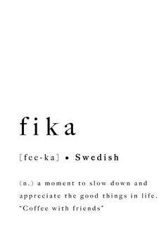 Fika Swedish Quote Print Inspirational Printable Poster Sweden