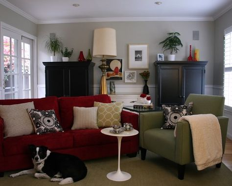 gray walls red sofa on pinterest red couches pink pillows and gre. Black Bedroom Furniture Sets. Home Design Ideas