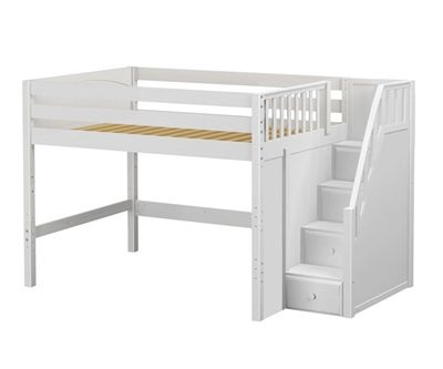 Maxtrix Hit Mid Loft Bed With Stairs Bed Frames Matrix