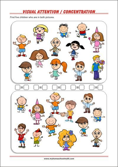 Who Is On Both Pictures Worksheets To Improve Visual Attention Focus And Co Visual Perceptual Activities Visual Perception Activities Visual Motor Activities