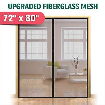 Upgraded 72 By 80 Magnetic Screen Door For French Door Magnetic