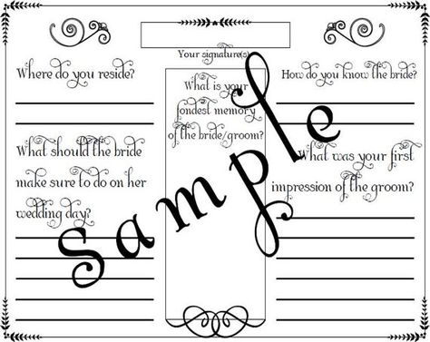 Wedding Shower or Bridal Shower Guest Book Page PDF File Template - guest card template