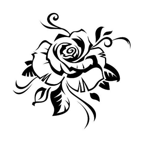 Tribal Black Rose Tattoo Stencil