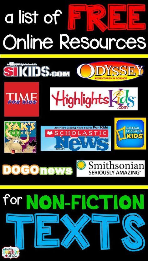 Free Nonfiction Reading Websites for Kids   One Stop Teacher Shop