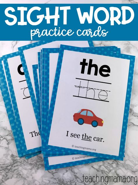 Word Practice Cards Sight Word Practice Cards - free printable for practicing sight words.Sight Word Practice Cards - free printable for practicing sight words. Preschool Sight Words, Teaching Sight Words, Sight Word Practice, Sight Word Games, Sight Word Centers, Kindergarten Sight Words Printable, High Frequency Words Kindergarten, Kindergarten Literacy, Preschool Learning