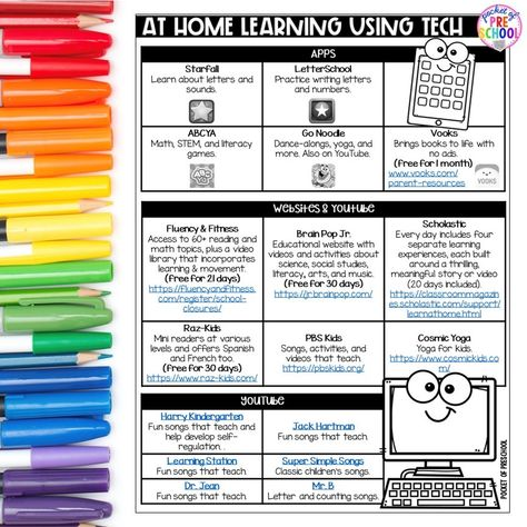 FREE printable Tech websites, apps, and YouTube videos just for preschool, pre-k, and kindergarten.