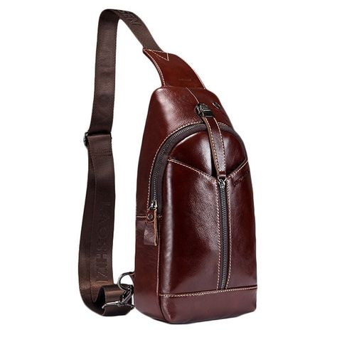 d9f425e9139e Genuine Leather Vintage Business Chest Bag Crossbody Bag in 2019 ...
