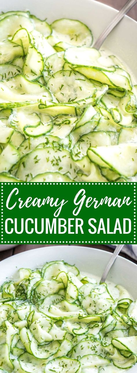 German Cucumber Salad (Gurkensalat) is light, refreshing, and so easy to make! Made with sour cream, vinegar, and dill this creamy summer salad is perfect for your next BBQ party or potluck. #summersalad #cucumbersalad