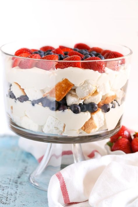 Angel food cake layered with an easy no-bake cheesecake filling and fresh strawberries and blueberries. This No-Bake Berry Cheesecake Trifle is such a perfect dessert for the 4th of July!