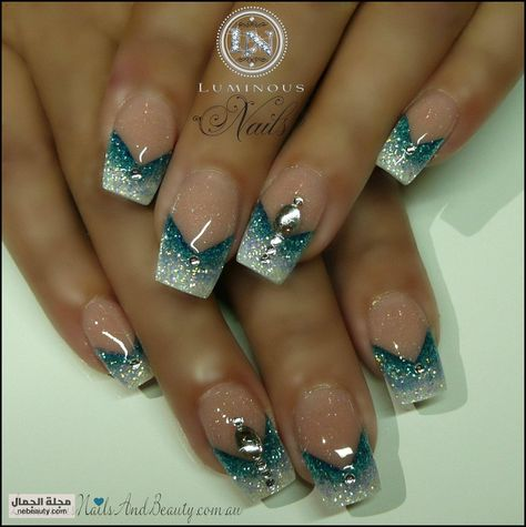 Luminous Nails: Glitter Sky Blue & White Nails with Reverse V.