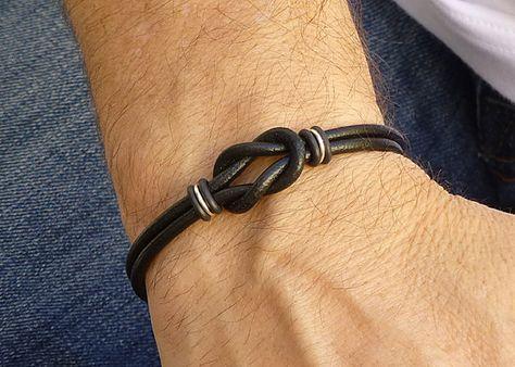 Mini Black Leather Bracelet Unisex Celtic by siriousdesign on Etsy, $19.00
