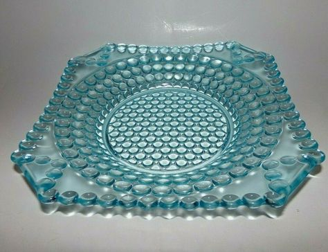 Very Rare Antique EAPG Blue Milk Glass Plate with lattice border of flowers and beads