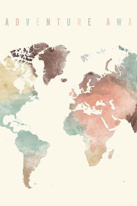 Adventure awaits Large Travel map World map watercolor