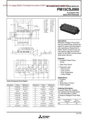 Pm15csj060 Mitsubishi Igbt Power Module Mitsubishi Power Transistors