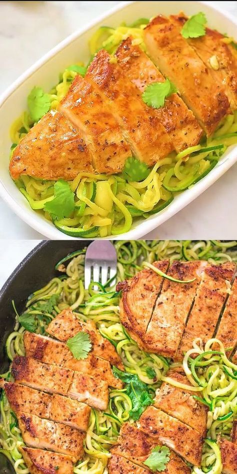 """This Chicken and Zoodles is going to make you fall in love with zucchini noodles. Not only is zucchini """"pasta"""" good for you, it is also very tasty and easy to cook. Once you give this dish a try, there is no going back. You'll be making it over and over again. FOLLOW Cooktoria for more deliciousness! #chicken #zucchini #spiralizer #zoodles #lowcarb #keto #ketodiet #ketorecipe #dinner #recipeoftheday"""