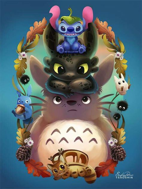 Beautiful ♡ Stitch, Toothless and Totoro ^_^ ^.^ ♡ I give good credit to whoever made this