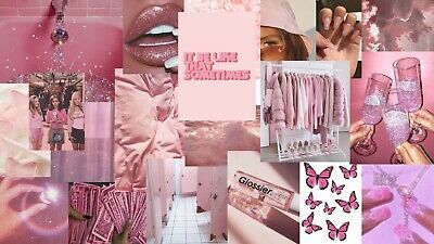 55pc Pink Collage Kit Fashion Home Garden Homedcor Postersprints Eb In 2020 Pink Wallpaper Laptop Laptop Wallpaper Desktop Wallpapers Aesthetic Desktop Wallpaper