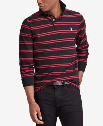 78cc03a0c Polo Ralph Lauren Men s Custom Slim Fit Long-Sleeve Striped Polo - Black XS