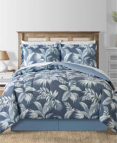 Modern Living Charcoal Blue Coastal Beach Palm Leaves Reversible Cal King Comforter Set 8 Piece Bed In Comforter Sets Full Comforter Sets Twin Comforter Sets