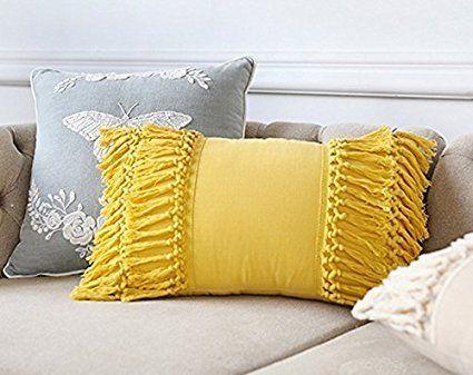 throw pillow yellow cotton throw pillow