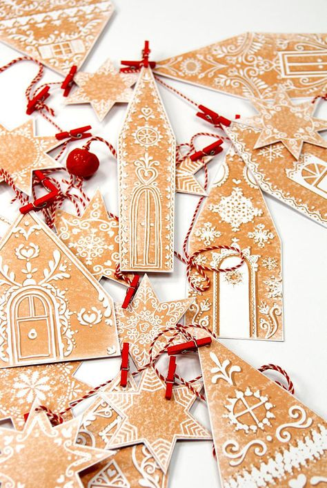 Celebrate the season with a festive DIY christmas garland made by yourself. The Christmas garland is printable at home, just cut, glue and attach to a string and be merry :) 14 gingerbread houses and 10 stars allow you to compose meters and meters of garland enough to wrap your home in Christmas. You can even utilize the sugary paper houses as gift cards, just leave the front part of the houses with an extra little excess on the left side, crease and glue just that part to the backing. The ...