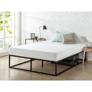 Zinus Joseph Black Metal Queen 14 In Platform Bed Hd Mbbf 14q The Home Depot Bed Frame Mattress Bed Frame Tall Bed Frame