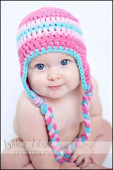 e920fc402 Multi- Colored Ear flap hat with braids | Riley | Flap hat, Baby, Hats