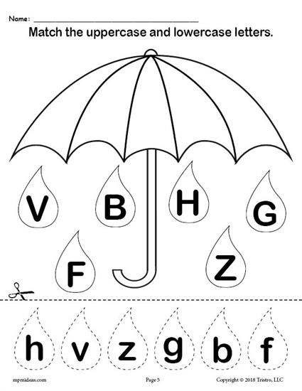 Raindrop Letter Case Matching Worksheets A Z Matching Worksheets Preschool Worksheets Alphabet Worksheets Preschool letter matching worksheet