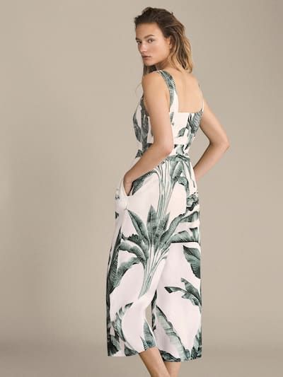 variety styles of 2019 entire collection free delivery PALM TREE PRINT LINEN JUMPSUIT - Women - Massimo Dutti ...