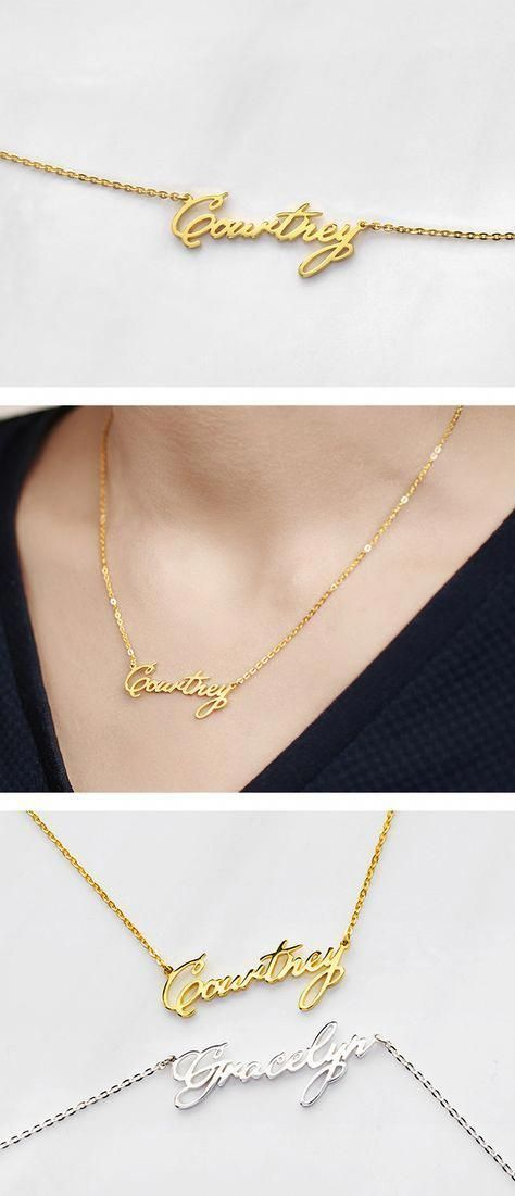 7096804ad3101 Holiday Gift Ideas PinWire: baby name necklace gold necklace with ...