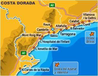 Afbeeldingsresultaat Voor Costa Dorada Kaart Met Afbeeldingen