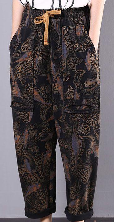 Fall Black Prints Cotton Plus Size Pants Women Vintage Harem Pants Vintage Harem Pants Pants For Women Plus Size Pants