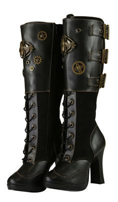 Boot spùinneadair à rd Steampunk - leathar dubh faux Steampunk Shoes, Steampunk Pirate, Steampunk Accessories, Steampunk Design, Steampunk Costume, Victorian Steampunk, Steampunk Necklace, Steampunk Clothing, Modern Steampunk Fashion