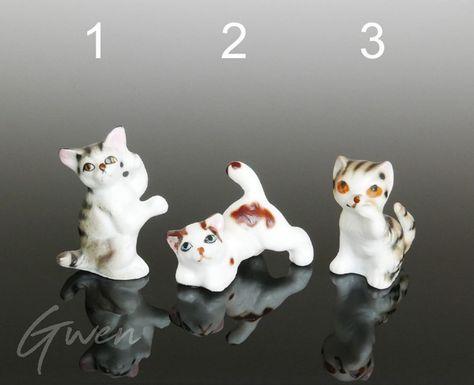 Pewter Cat Figurine Vintage 2 Kitten Miniature Love Pet Collection Kitty