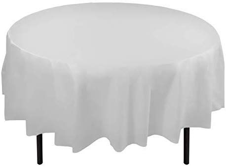 12 Pack Premium Plastic Tablecloth 84in, Round Paper Table Covers White